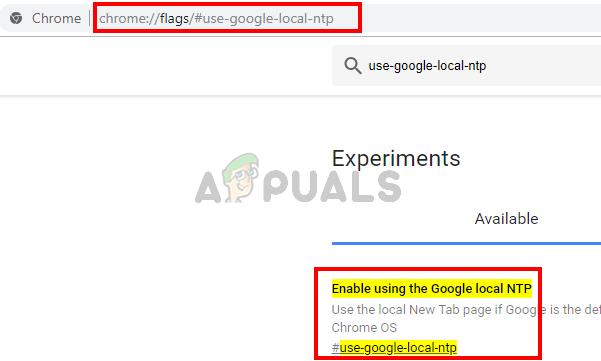 type chrome://flags/#use-google-local-ntp and press enter
