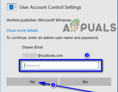 enter password and click on yes in uac prompt