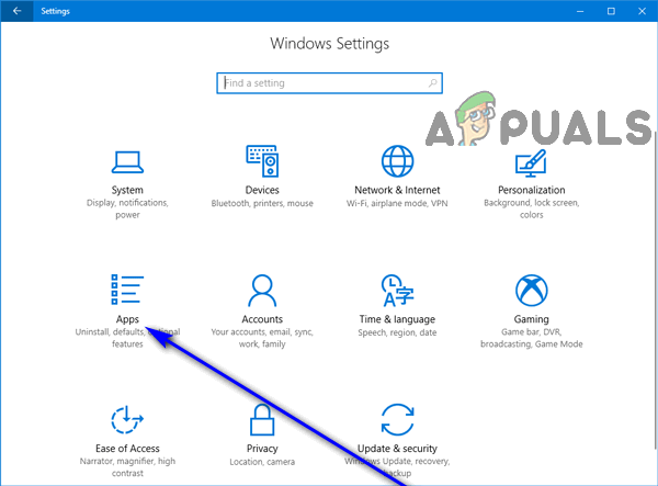click on apps windows 10 settings