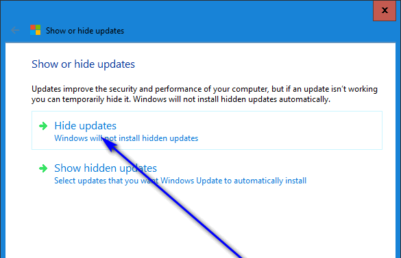 click on hide updates in the troubleshooter