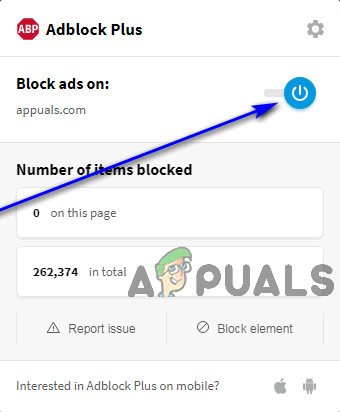 click on the blue power button to disable adblock plus