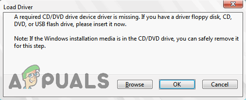 A required CD/DVD drive device driver is missing error message