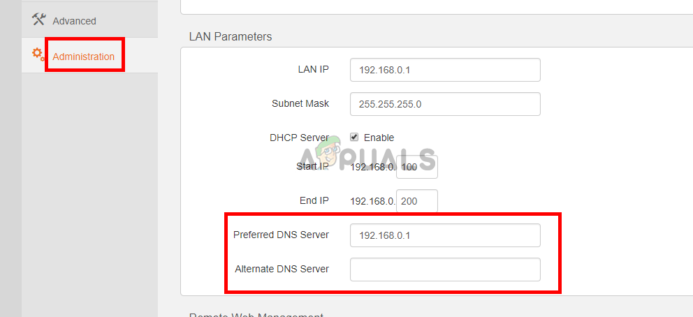 Enter the DNS servers