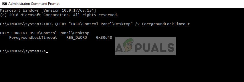 Checking registry value of 'ForegroundLockTimeout'