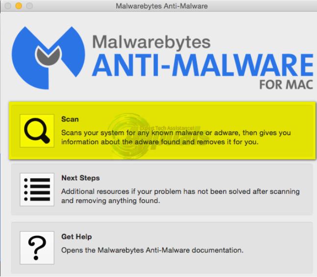 Scanning using MalwareBytes