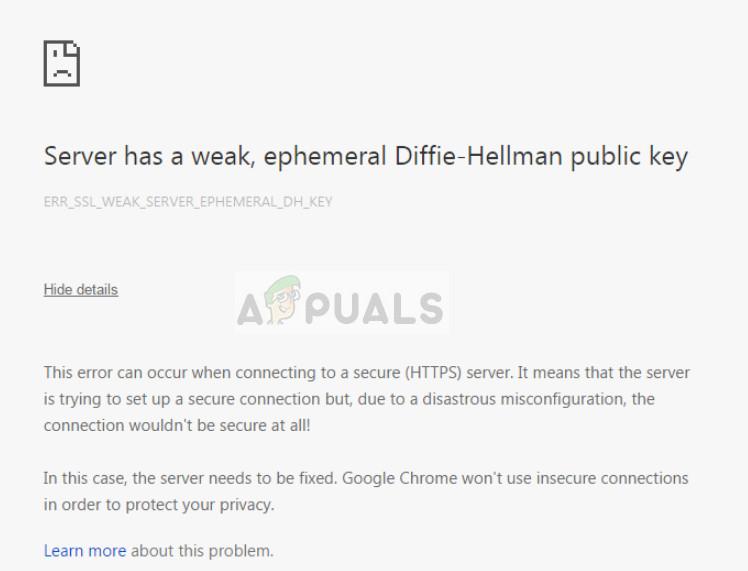 Der Server hat einen schwachen, kurzlebigen öffentlichen Diffie-Hellman-Schlüssel