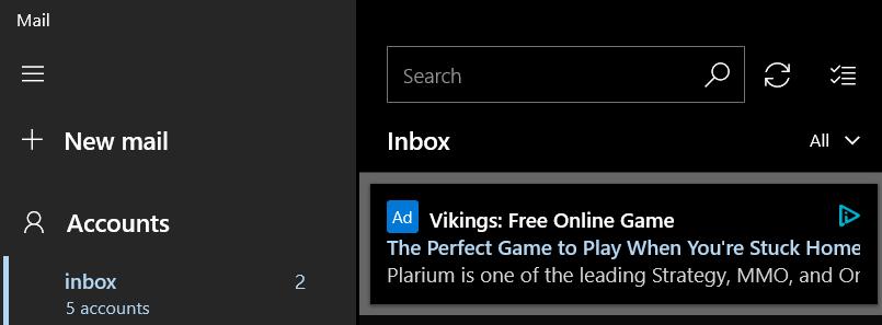 Mailing app ads Microsoft
