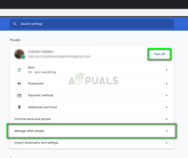 Turning off sync of Google profile - Chrome