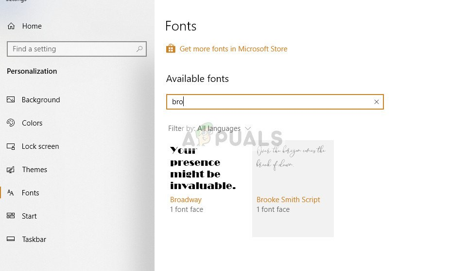 Looking up installed font
