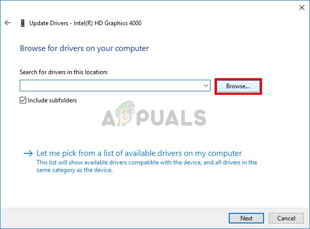 Selecting downloaded driver file