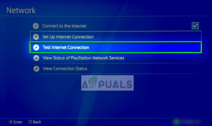 Test internet connection - Network Settings on PS4