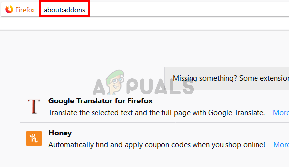 type about:addons in the address bar