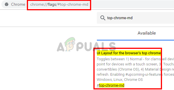 type chrome://flags/#top-chrome-md and press enter