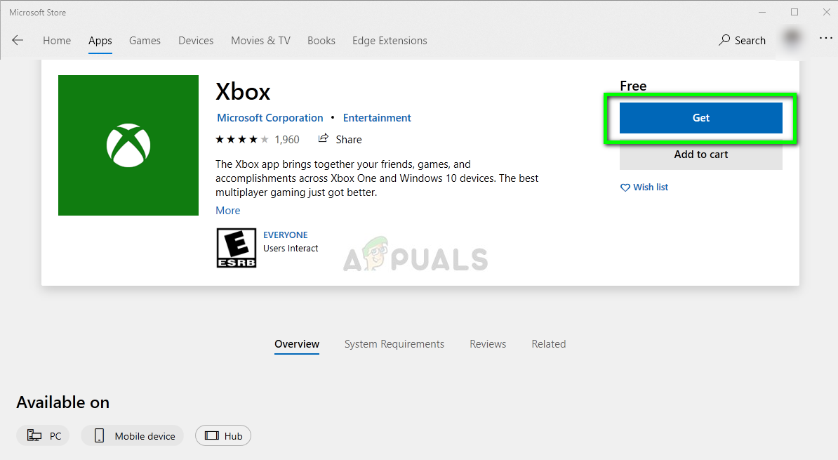 Downloading Xbox application from Microsoft Store