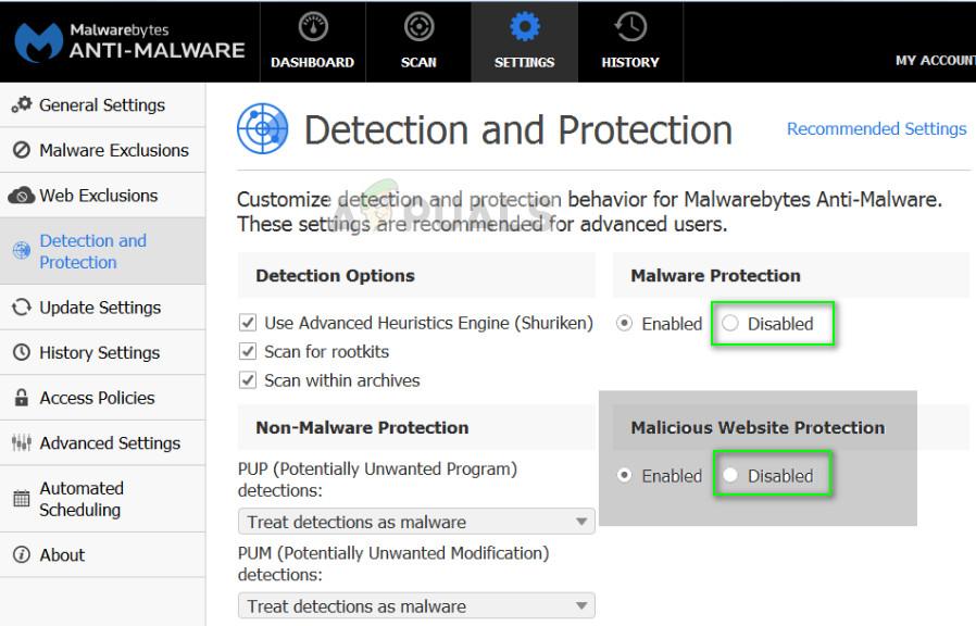 Disabling Malwarebytes