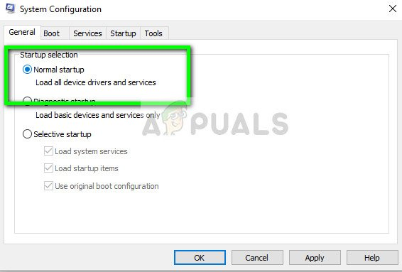 Selecting normal startup - Boot configuration on Windows 10