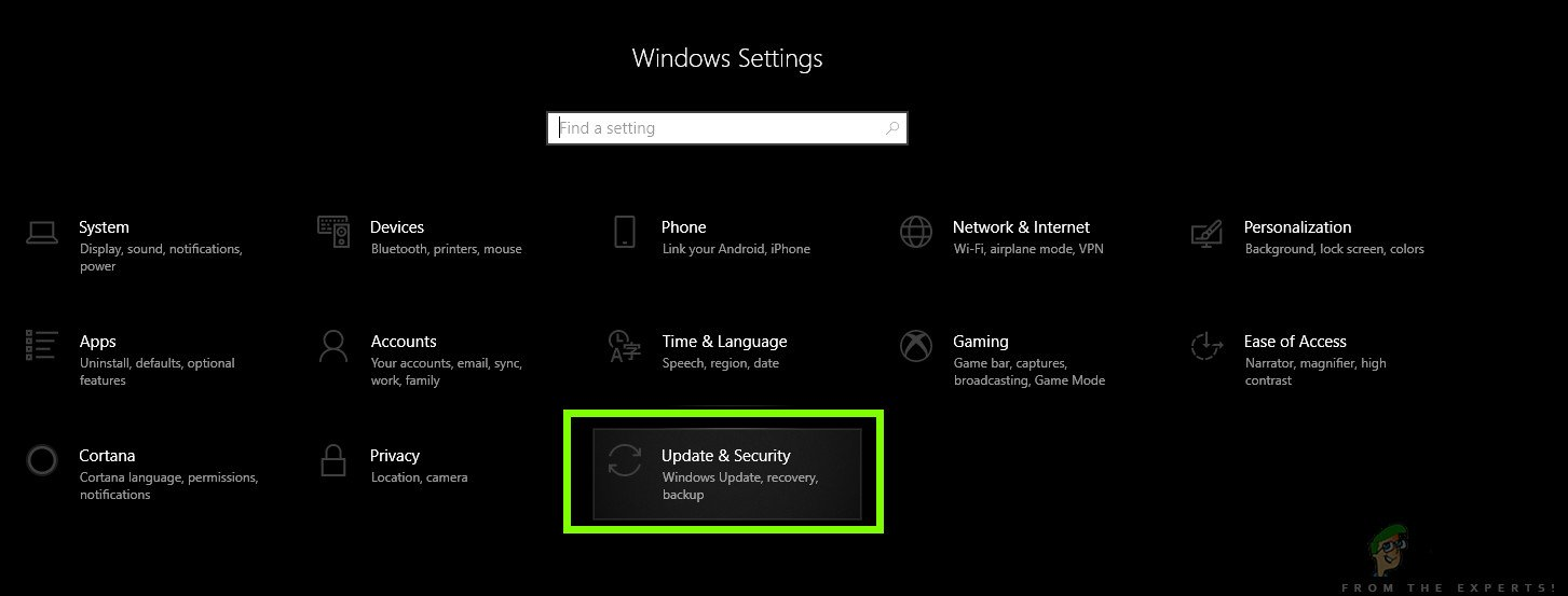 Opening Updates and Security - Windows 10 Settings