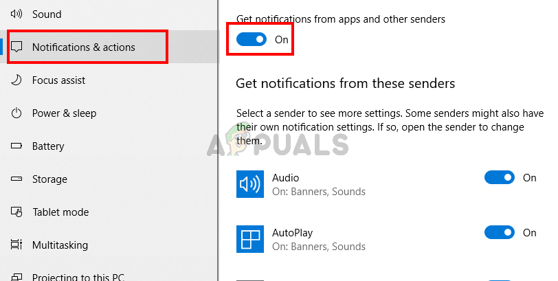 Turn on notifications for all apps
