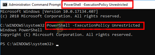 type PowerShell -ExecutionPolicy Unrestricted in cmd