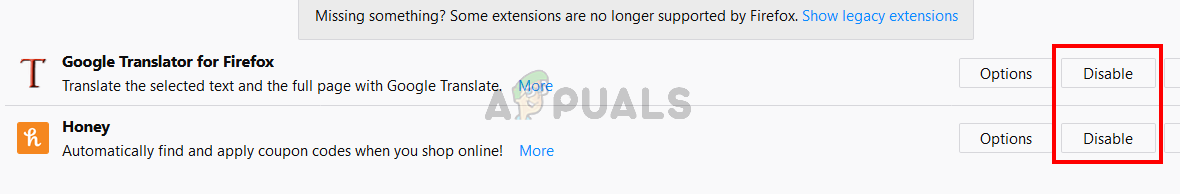 Click Disable for all extensions of Firefox