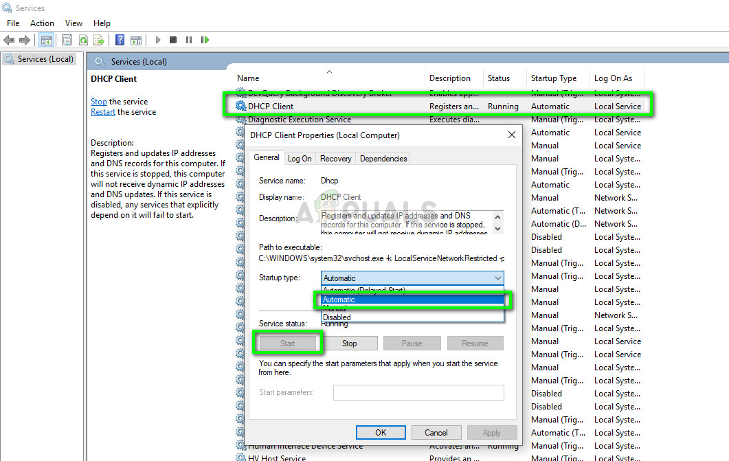 Enabling DHCP Client service - Services