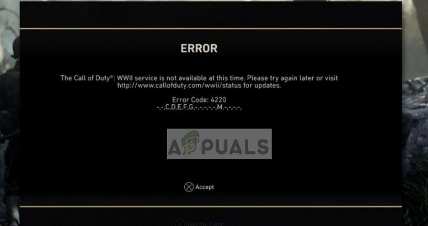 COD WW2 Error Code 4220 on PS4