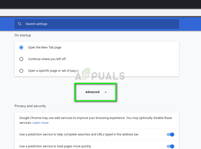 Advanced settings - Chrome
