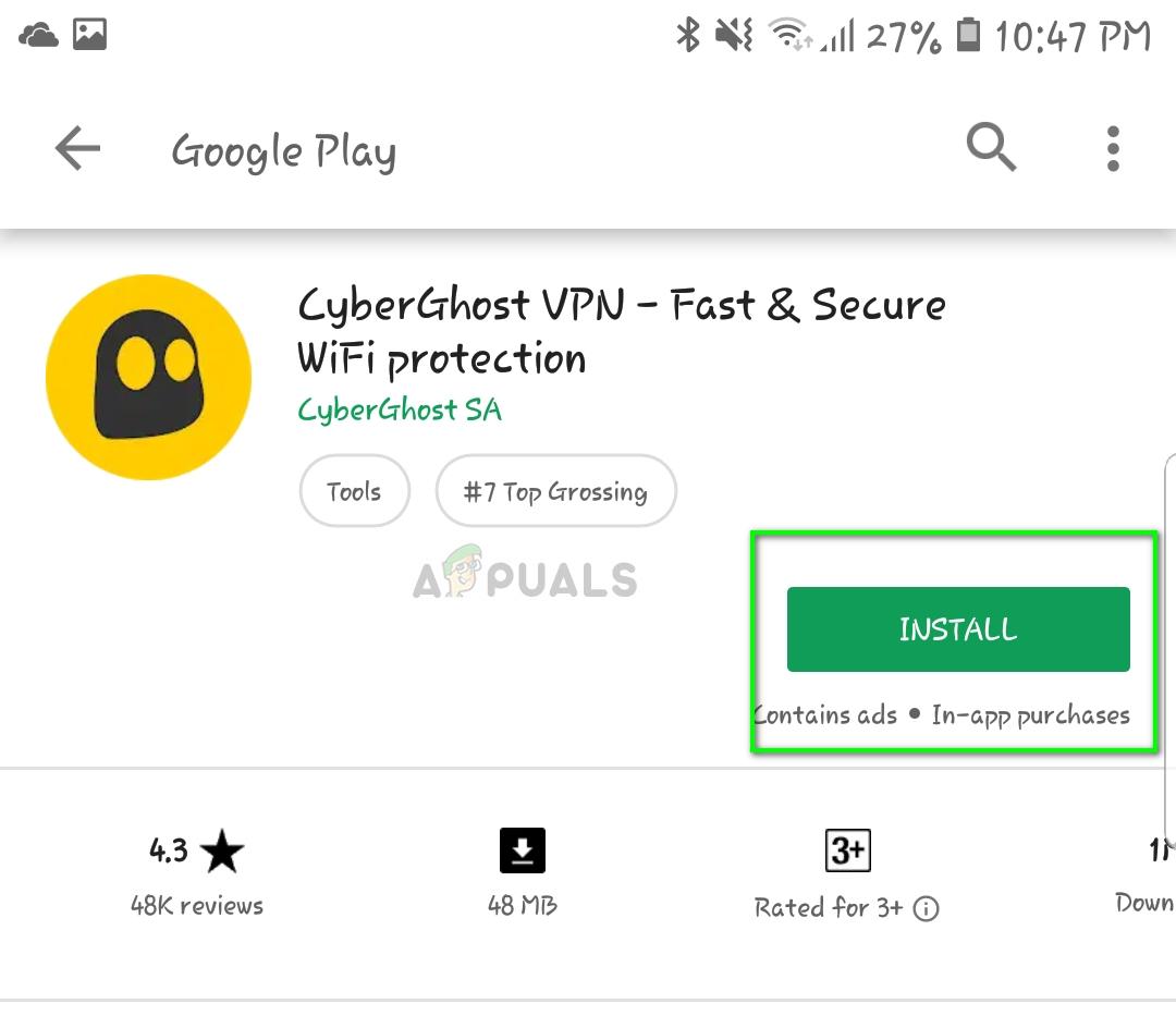 Installing CyberGhost VPN - Play store