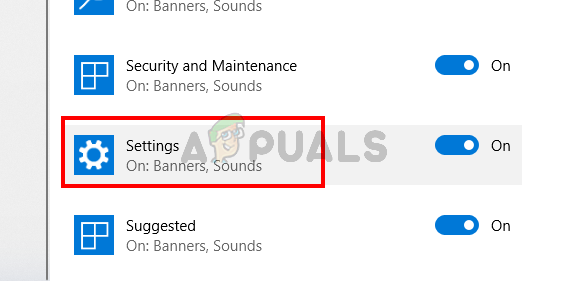 Select Settings from notifications list of apps