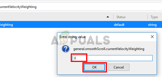 change general.smoothScroll.currentVelocityWeighting value to 0