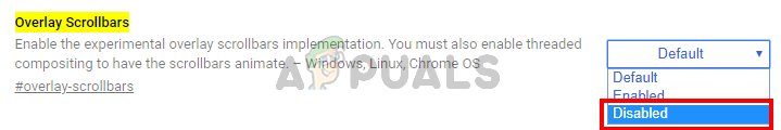 Select Disabled in Over Scrollbar flag