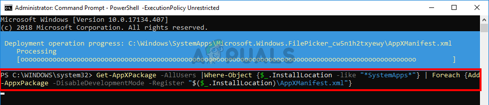 Reinstall default apps from command prompt