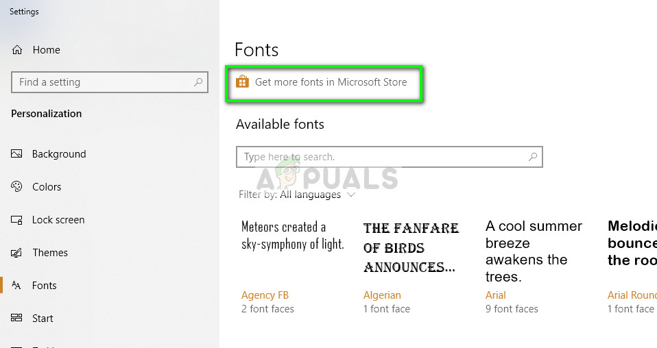 Fonts from Microsoft Store
