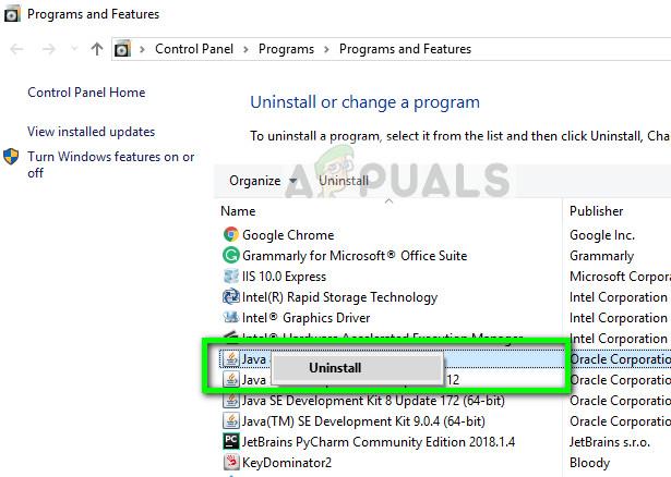 Uninstalling Java Runtime on Windows 10