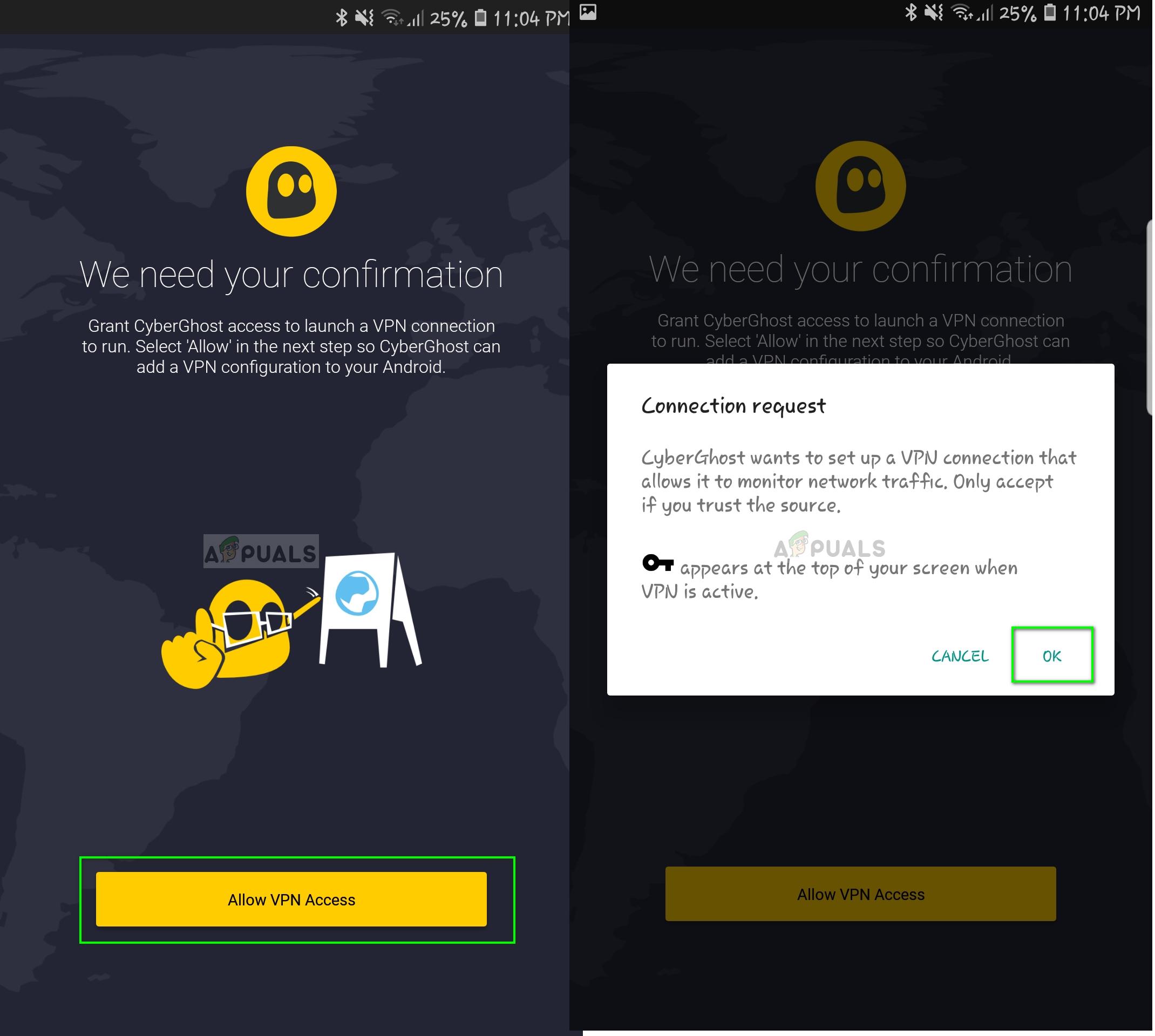 Enabling VPN access for CyberGhost