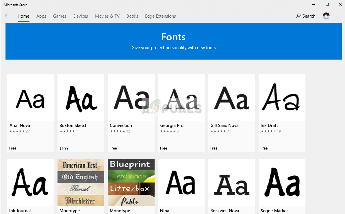 Fonts section - Microsoft store