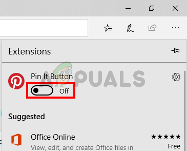Toggle off all the extensions of Microsoft Edge