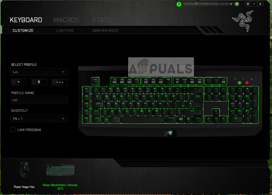 Razer Synapse-Tastaturprofile