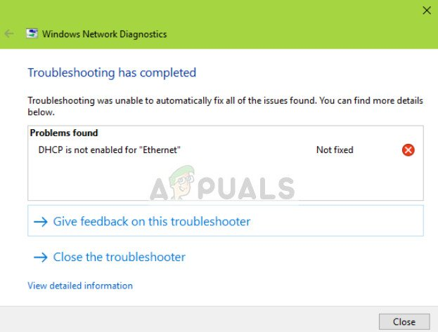 DHCP is not enabled for Ethernet