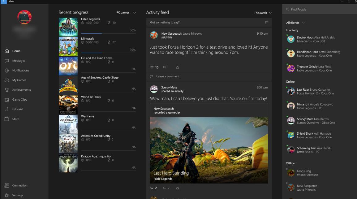 Xbox Application on Windows 10
