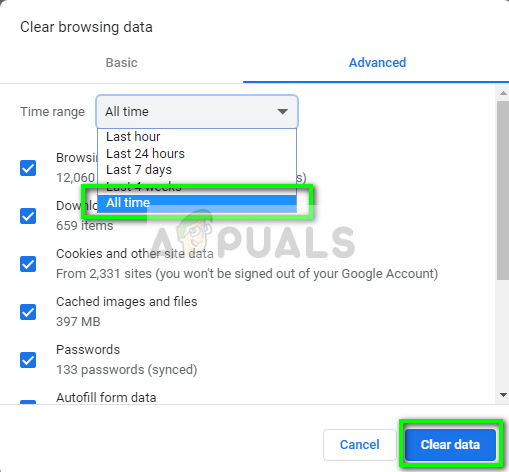 Erasing cookies and cache - Chrome in Windows 10
