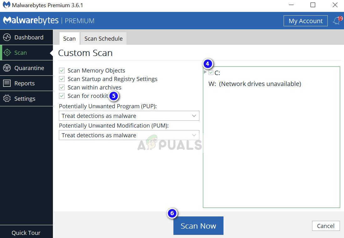 Scanning through MalwareBytes