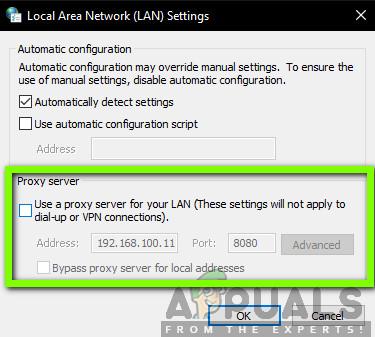 Disabling Proxy Server - LAN Settings