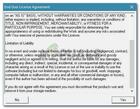 Accepting Roadkil's Licence agreement