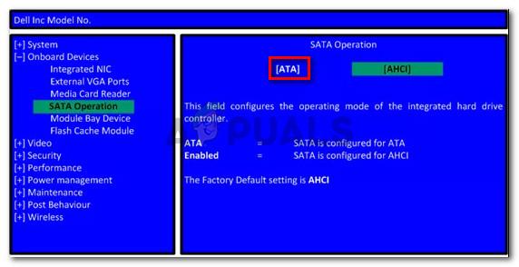 Changing the SATA Operation to ATA