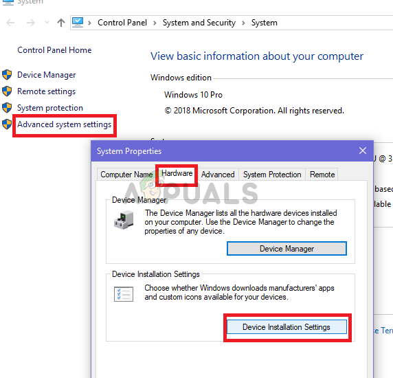 click on Device installation under the hardware tab in Advanced system settings