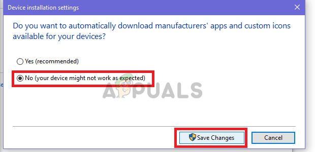 Select No and Save Changes