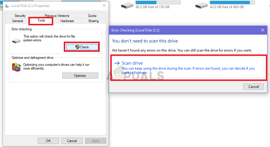 Click Scan drive after clicking Check under Tools to start the scan