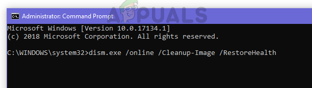 Type dism.exe /online /Cleanup-Image /RestoreHealth to restore the health