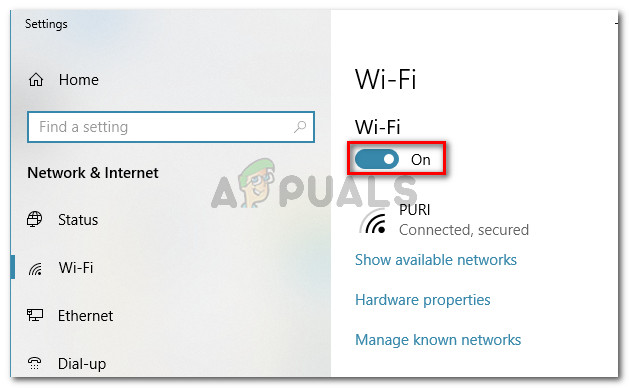 Making sure that Wi-Fi is turned On